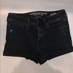 American eagle black high rise jean shorts
